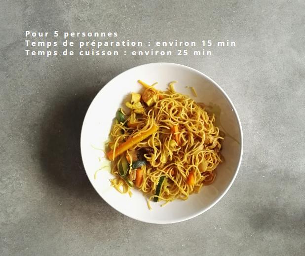 Wok de nouilles chinoises et ses petits légumes